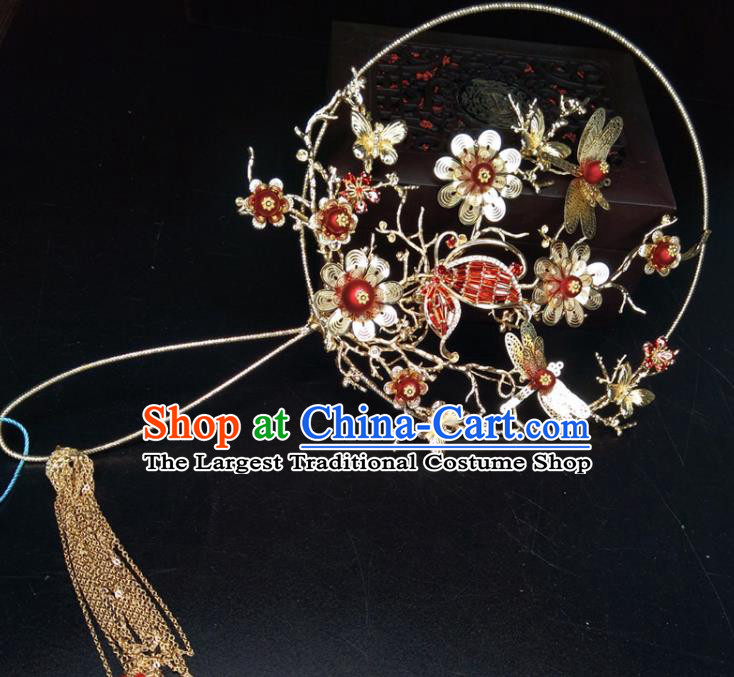 Chinese Traditional Wedding Accessories Classical Bride Butterfly Flowers Palace Fans for Women