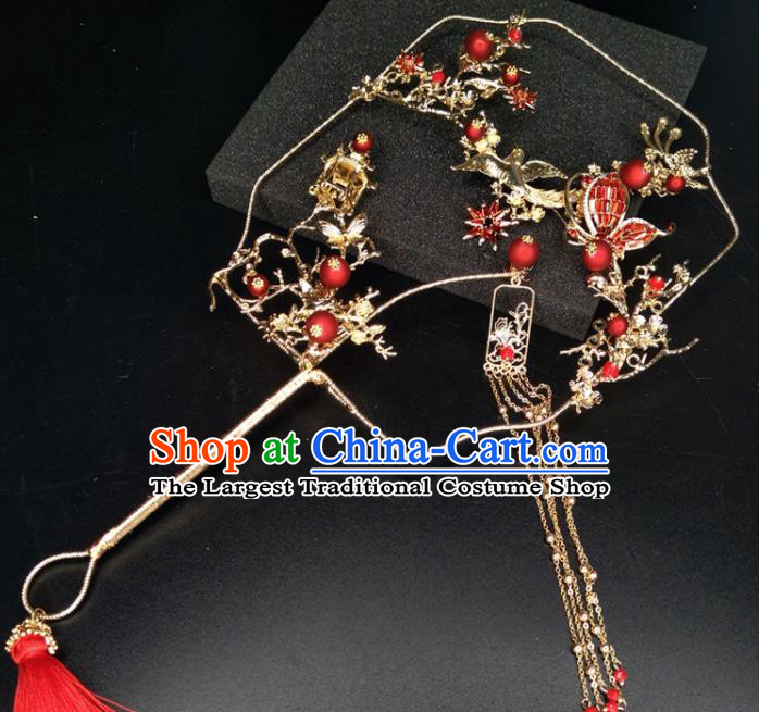 Chinese Traditional Wedding Accessories Classical Bride Red Butterfly Flowers Palace Fans for Women