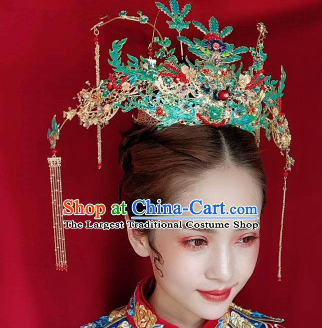 Top Chinese Traditional Hair Accessories Ancient Wedding Cloisonne Phoenix Coronet Palace Hairpins Complete Set for Women