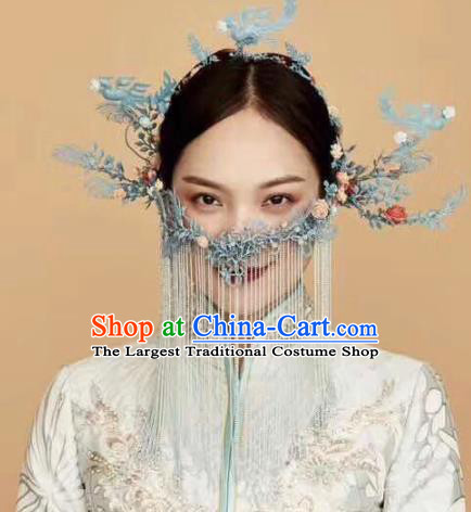 Top Chinese Traditional Palace Hair Accessories Ancient Blue Phoenix Coronet Hairpins Complete Set for Women