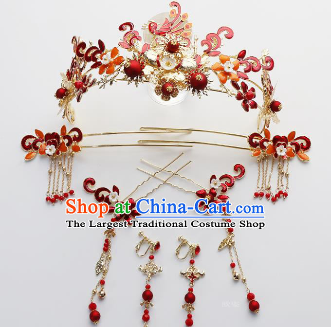 Top Chinese Traditional Wedding Hair Accessories Ancient Red Phoenix Coronet Hairpins Complete Set for Women