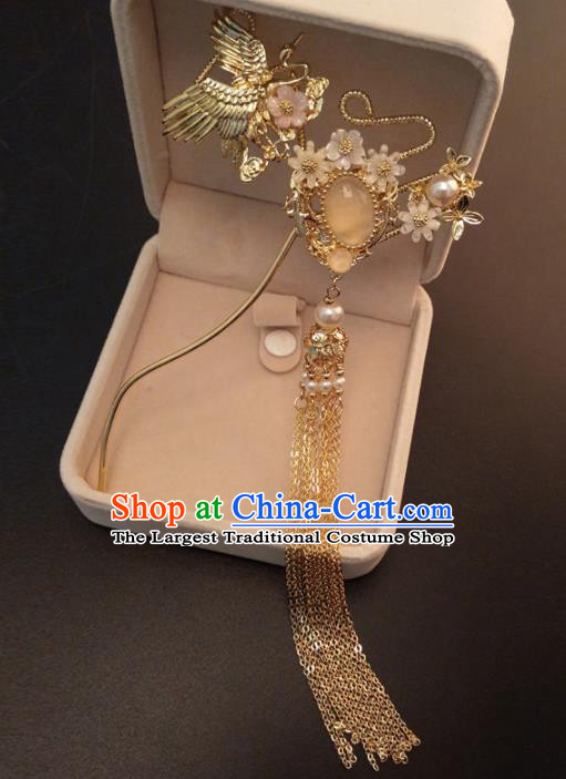 Top Chinese Traditional Hair Accessories Ancient Classical Crane Tassel Palace Hairpins for Women