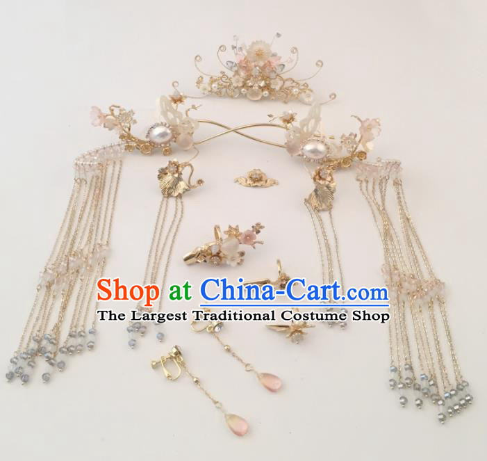 Top Chinese Traditional Hair Accessories Ancient Classical Shell Butterfly Hair Clips Palace Hairpins Complete Set for Women