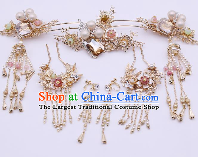 Top Chinese Traditional Hair Accessories Ancient Classical Palace Pearls Hairpins Complete Set for Women