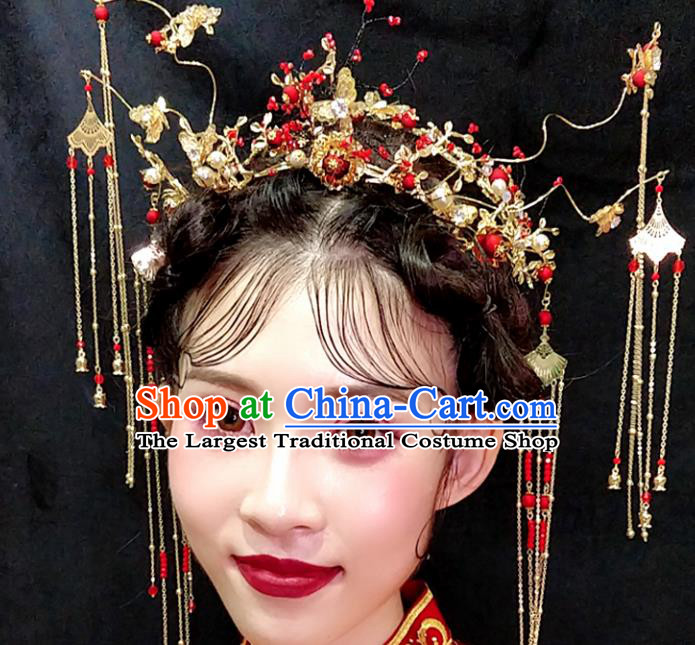 Top Chinese Traditional Wedding Hair Accessories Ancient Red Tassel Phoenix Coronet Hairpins Complete Set for Women