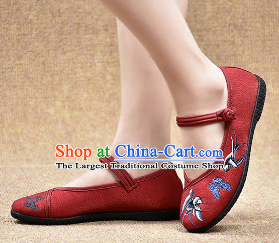 Chinese Shoes Wedding Shoes Traditional Embroidered Birds Butterfly Shoes Bride Red Shoes for Women