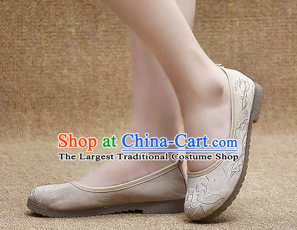 Chinese Shoes Wedding Shoes Traditional Embroidered Lotus Shoes Bride Beige Shoes for Women