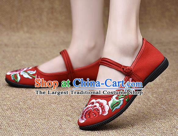 Chinese Shoes Wedding Shoes Traditional Embroidered Peony Shoes Bride Red Shoes for Women