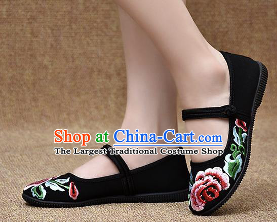 Chinese Shoes Wedding Shoes Traditional Embroidered Peony Shoes Bride Black Shoes for Women