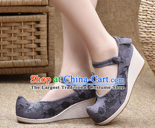 Chinese Shoes Wedding Shoes Traditional Embroidered Shoes Grey High Heeled Shoes for Women