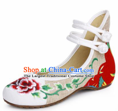 Chinese Shoes Wedding Shoes Traditional Embroidered Shoes Embroidery Peony White Hanfu Shoes for Women
