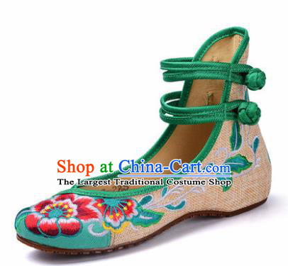 Chinese Shoes Wedding Green Shoes Traditional Embroidered Shoes Embroidery Peony Hanfu Shoes for Women
