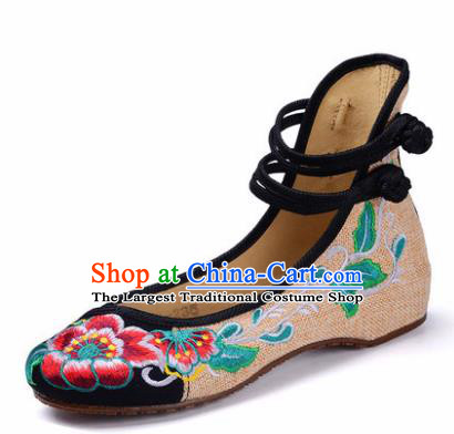 Chinese Shoes Wedding Black Shoes Traditional Embroidered Shoes Embroidery Peony Hanfu Shoes for Women
