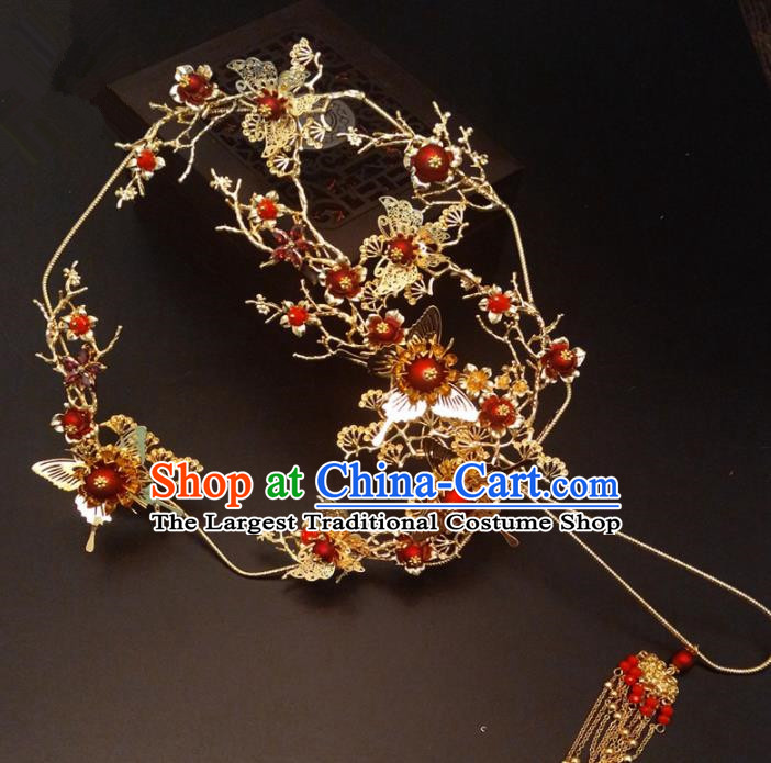 Chinese Traditional Wedding Accessories Classical Bride Golden Butterfly Palace Fan for Women