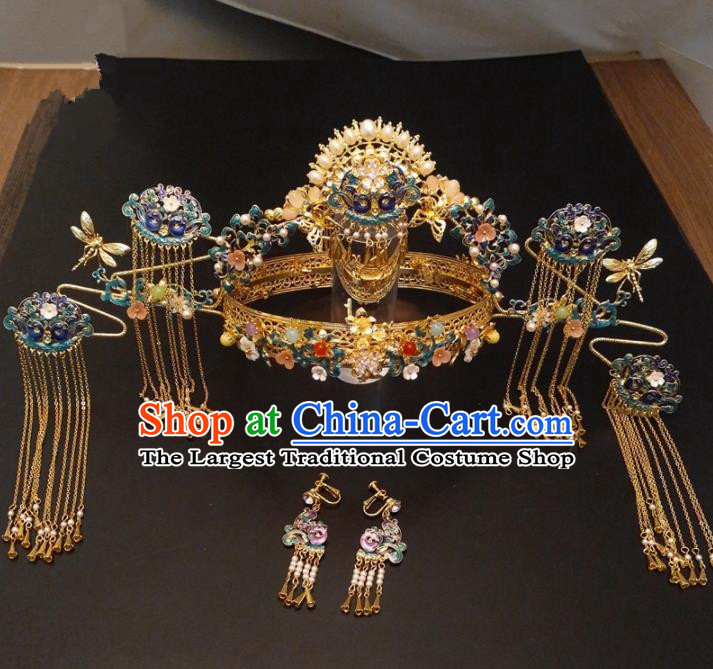 Top Chinese Traditional Wedding Hair Accessories Classical Phoenix Coronet Hairpins Headdress for Women