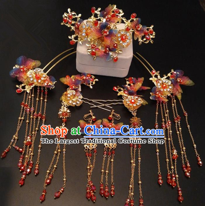 Top Chinese Traditional Wedding Colorful Butterfly Hair Accessories Classical Phoenix Coronet Hairpins Headdress for Women