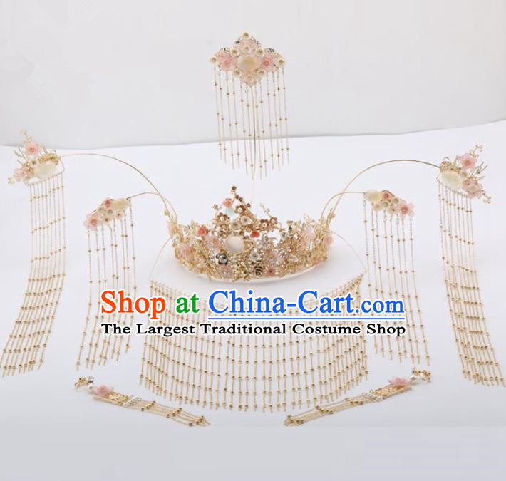 Top Chinese Traditional Wedding Hair Accessories Classical Tassel Phoenix Coronet Hairpins Headdress for Women