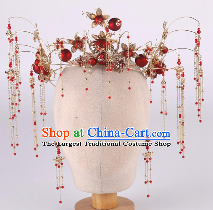 Top Chinese Traditional Wedding Hair Accessories Ancient Classical Tassel Phoenix Coronet Hairpins Headdress for Women
