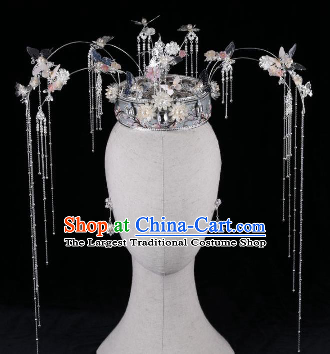 Top Chinese Traditional Wedding Hair Accessories Ancient Palace Tassel Phoenix Coronet Hairpins Headdress for Women