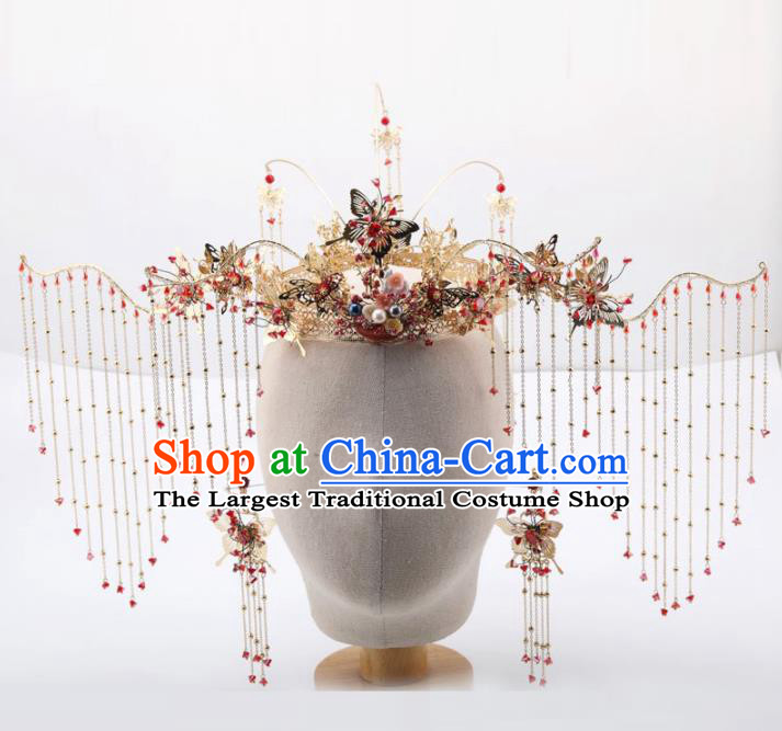 Top Chinese Traditional Wedding Hair Accessories Ancient Palace Red Tassel Phoenix Coronet Hairpins for Women