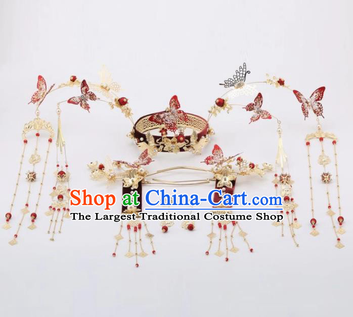 Top Chinese Traditional Wedding Hair Accessories Ancient Palace Red Butterfly Phoenix Coronet Hairpins for Women