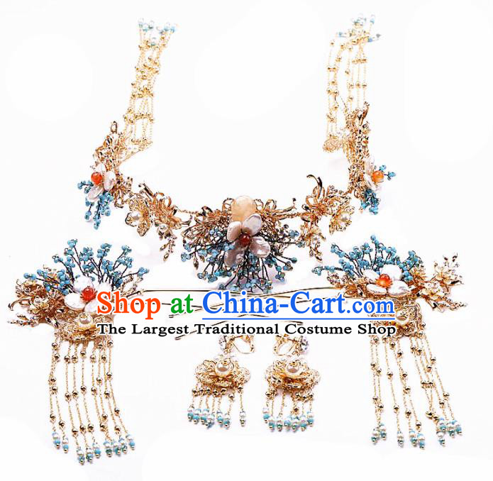 Top Chinese Traditional Wedding Hair Accessories Ancient Palace Tassel Phoenix Coronet Hairpins Complete Set for Women