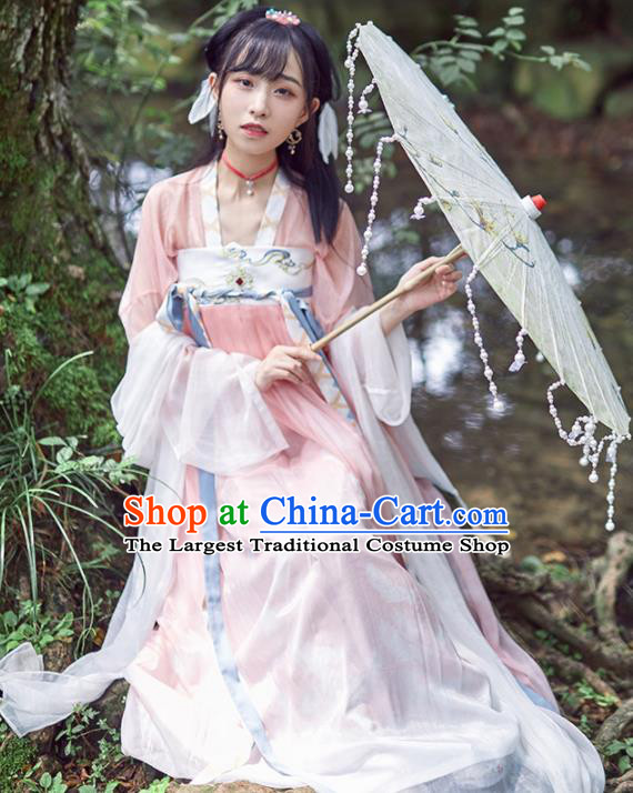 Chinese Ancient Drama Peri Goddess Hanfu Dress Traditional Tang Dynasty Palace Princess Replica Costumes for Women