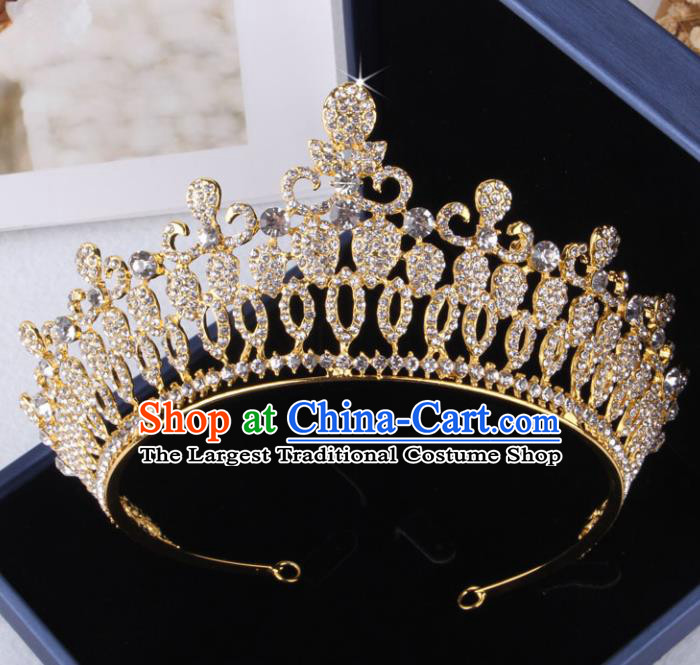 Top Grade Gothic Hair Accessories Catwalks Princess Golden Crystal Royal Crown for Women