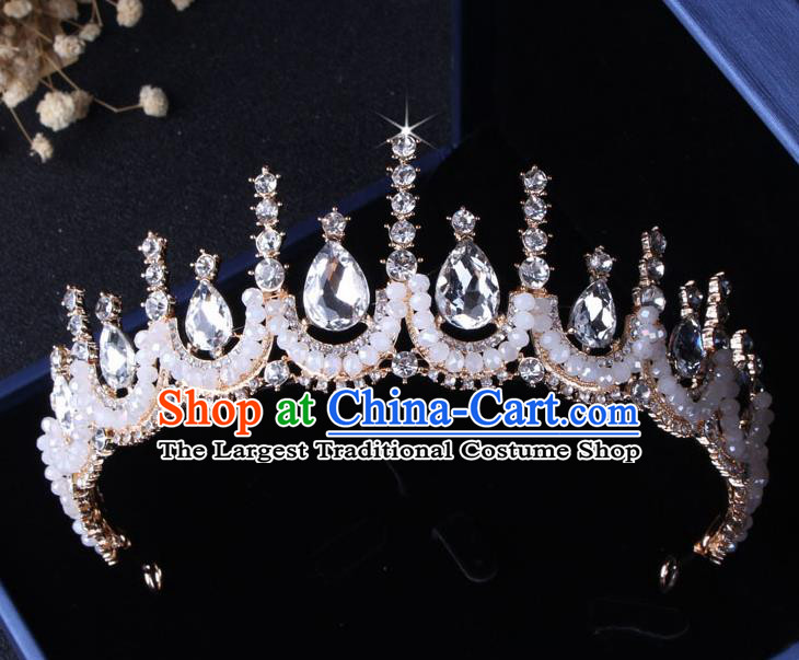 Top Grade Gothic Hair Accessories Catwalks Princess Crystal Beads Royal Crown for Women