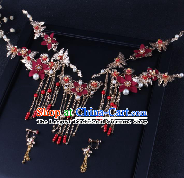 Top Chinese Traditional Hair Accessories Wedding Red Flowers Hair Claws Hairpins for Women