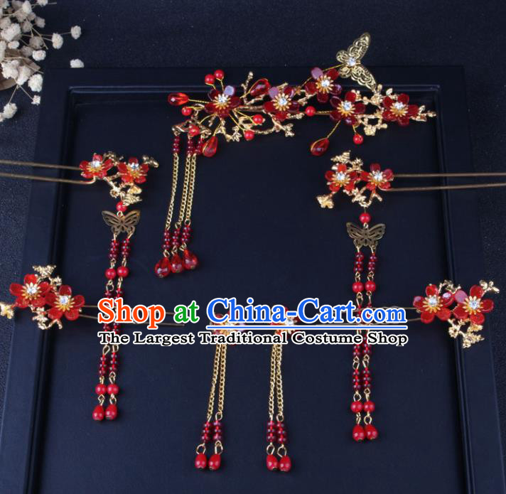 Top Chinese Traditional Hair Accessories Wedding Red Tassel Hair Clips Hairpins for Women
