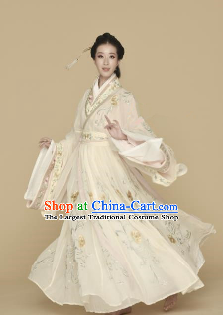 Chinese Ancient Princess Hanfu Dress Traditional Jin Dynasty Palace Lady Embroidered Replica Costumes for Women