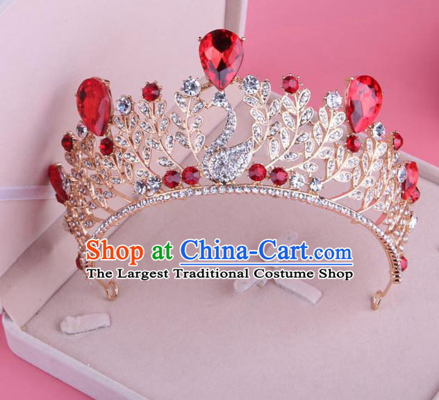 Top Grade Baroque Hair Accessories Catwalks Princess Red Crystal Swan Royal Crown for Women