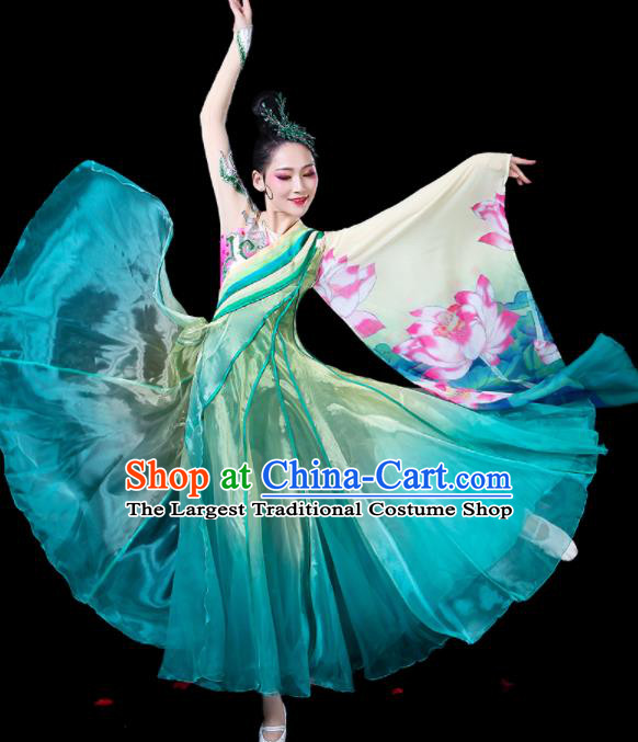 Chinese Traditional Classical Dance Costumes Fan Dance Printing Lotus Green Dress for Women