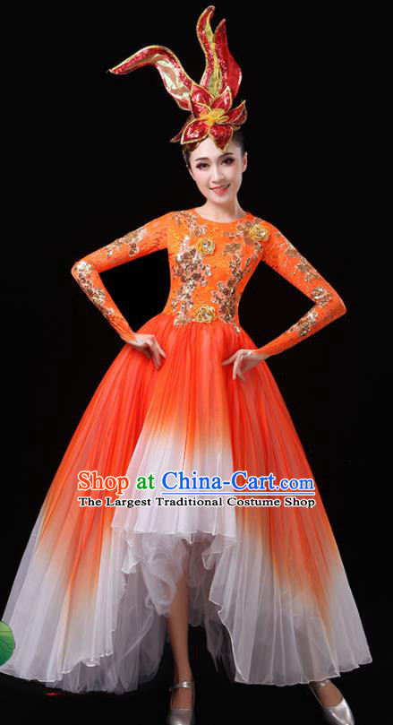 Top Grade Stage Show Costumes Modern Dance Chorus Red Dress for Women