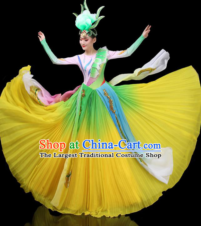 Top Grade Stage Show Costumes Group Dance Modern Dance Chorus Yellow Dress for Women