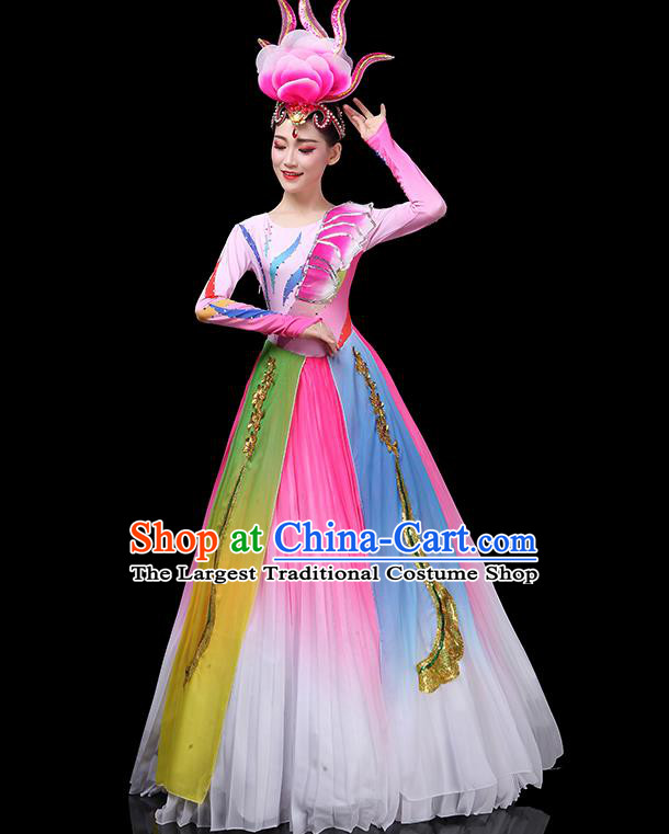 Top Grade Stage Show Costumes Group Dance Modern Dance Chorus Pink Dress for Women