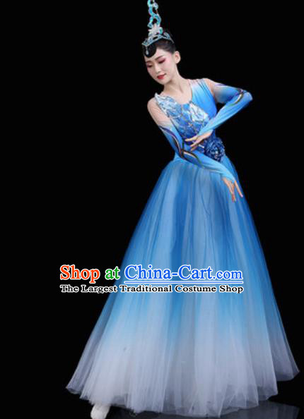 Top Grade Chorus Stage Show Costumes Group Dance Modern Dance Blue Dress for Women