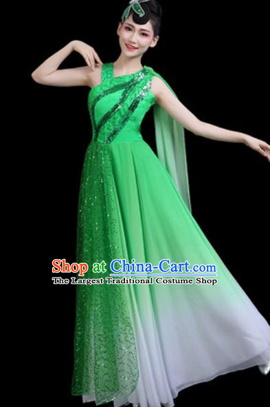 Top Grade Chorus Stage Show Costumes Group Dance Modern Dance Green Dress for Women