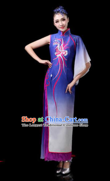 Chinese Traditional Classical Dance Costumes Umbrella Dance Royalblue Dress for Women