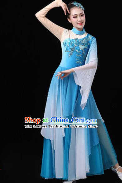 Chinese Traditional Classical Dance Costumes Umbrella Dance Group Dance Blue Dress for Women