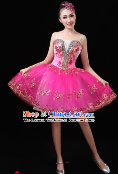 Top Grade Chorus Stage Show Costumes Group Dance Modern Dance Rosy Bubble Dress for Women
