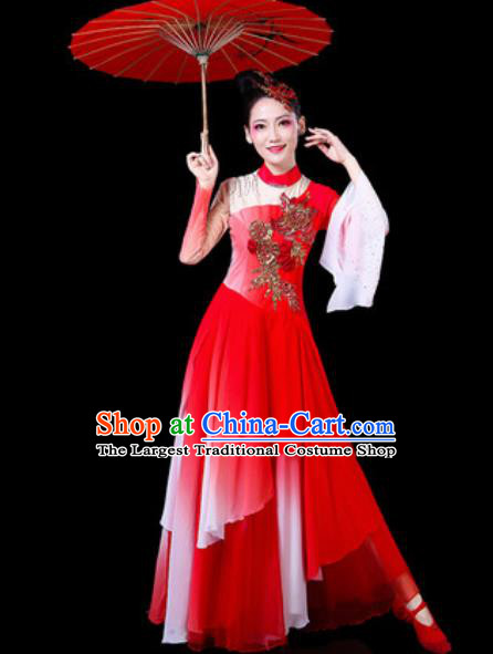 Chinese Traditional Classical Dance Costumes Umbrella Dance Group Dance Red Dress for Women