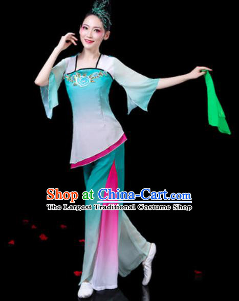 Chinese Traditional Folk Dance Costumes Umbrella Dance Yangko Group Dance Green Clothing for Women