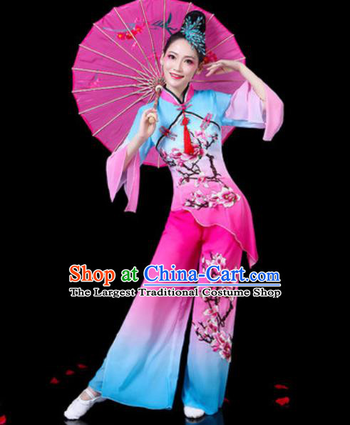 Chinese Traditional Folk Dance Costumes Umbrella Dance Yangko Group Dance Clothing for Women