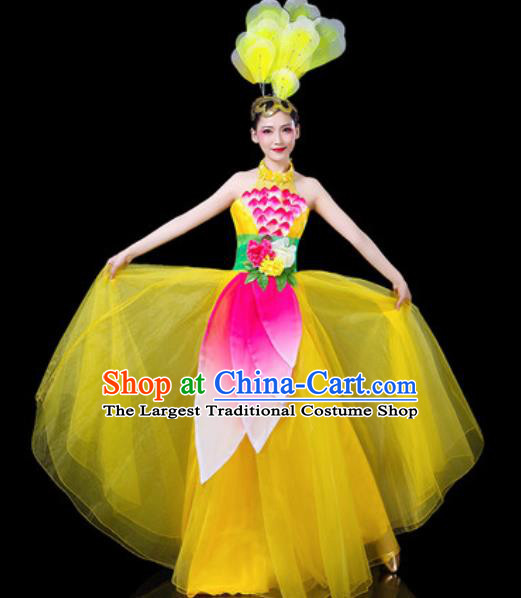 Top Grade Stage Show Chorus Costumes Group Dance Modern Dance Yellow Dress for Women