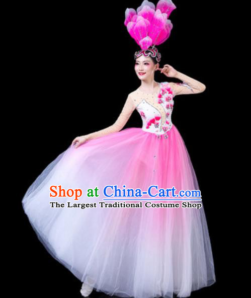 Top Grade Stage Show Chorus Costumes Group Dance Modern Dance Pink Veil Dress for Women