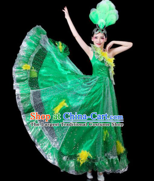 Top Grade Stage Show Chorus Costumes Group Dance Modern Dance Green Dress for Women