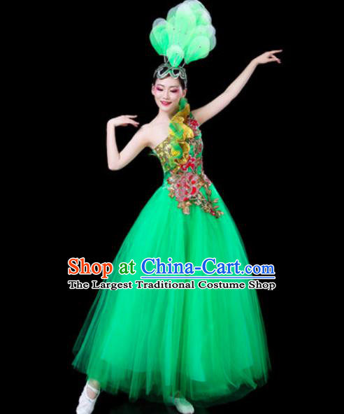 Top Grade Stage Show Chorus Costumes Group Dance Modern Dance Green Veil Dress for Women