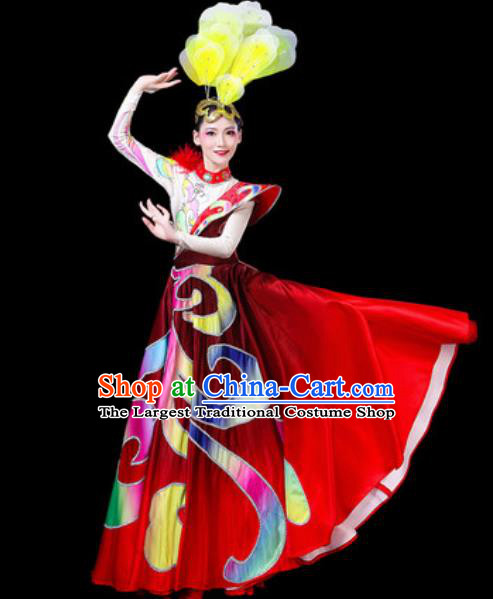 Top Grade Stage Show Chorus Costumes Group Dance Modern Dance Big Swing Red Dress for Women